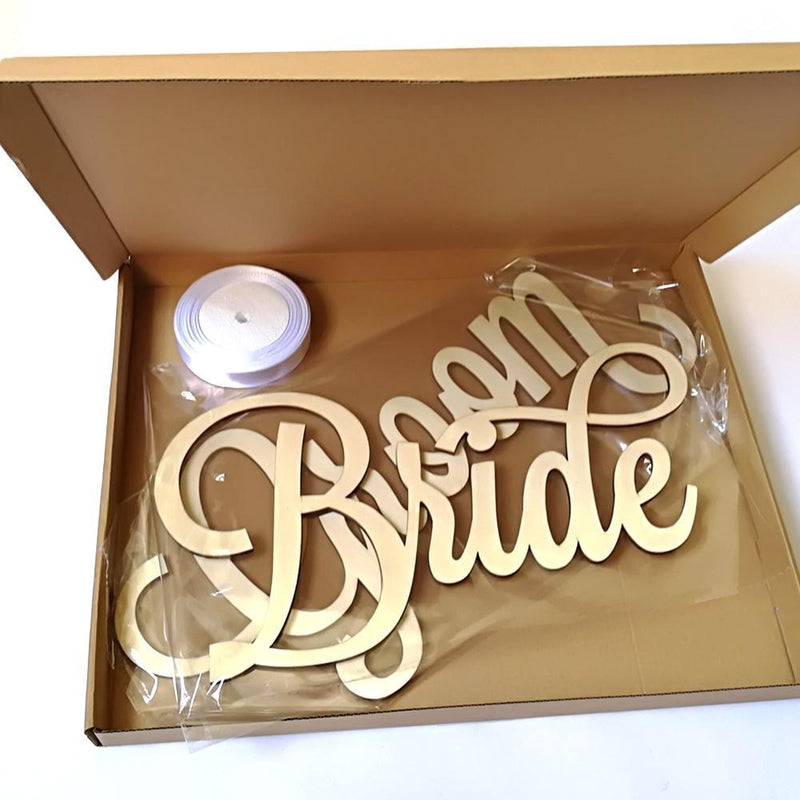 Matt Gold Bride and Groom Chair Signs