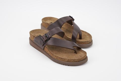 MEPHISTO HELEN SANDAL - DARK BROWN SCRATCH LEATHER