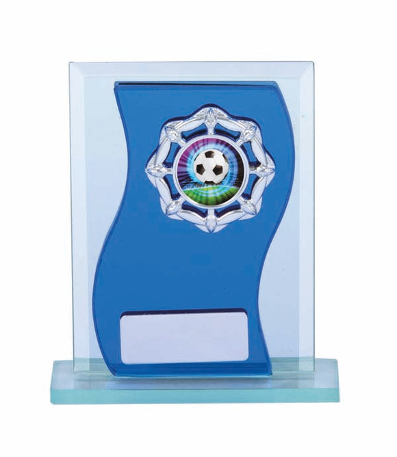 Blue Glass with logo holder and engraving plate