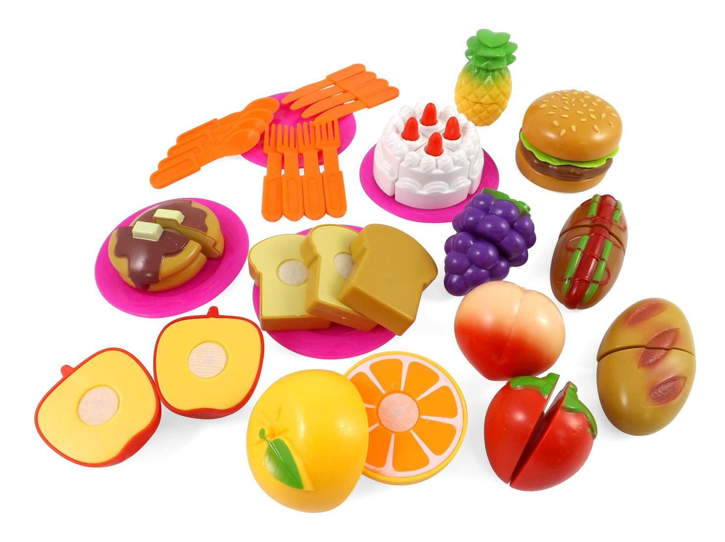 Kitchen Fun Cutting Fruits & Fast Food Playset For Kids