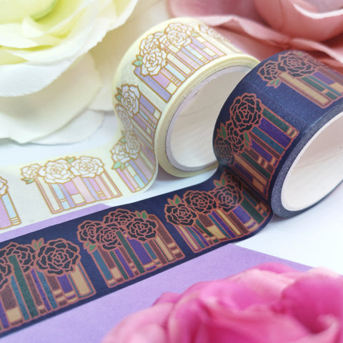 Books & Flowers Washi Tape