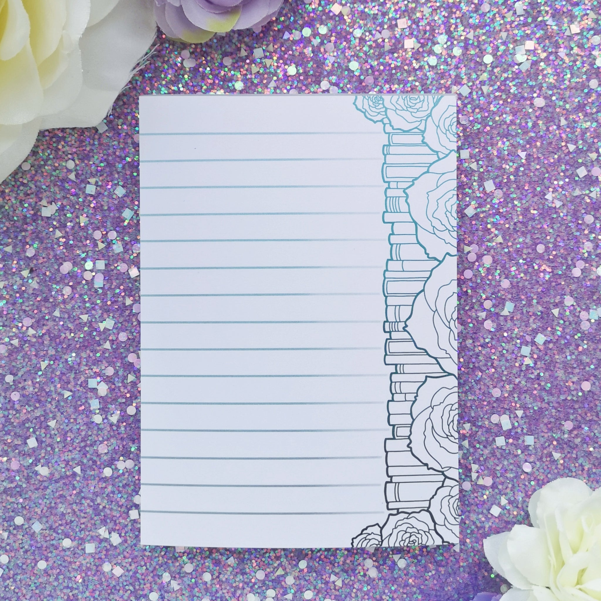 'Colour Your Own' Floral Bookstack Notepad