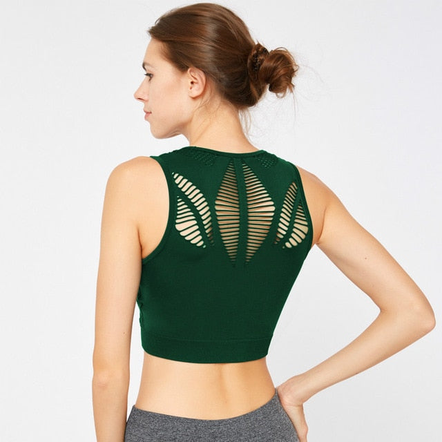 Seamless Hollow Out Fitness Crop Tops - Leggings