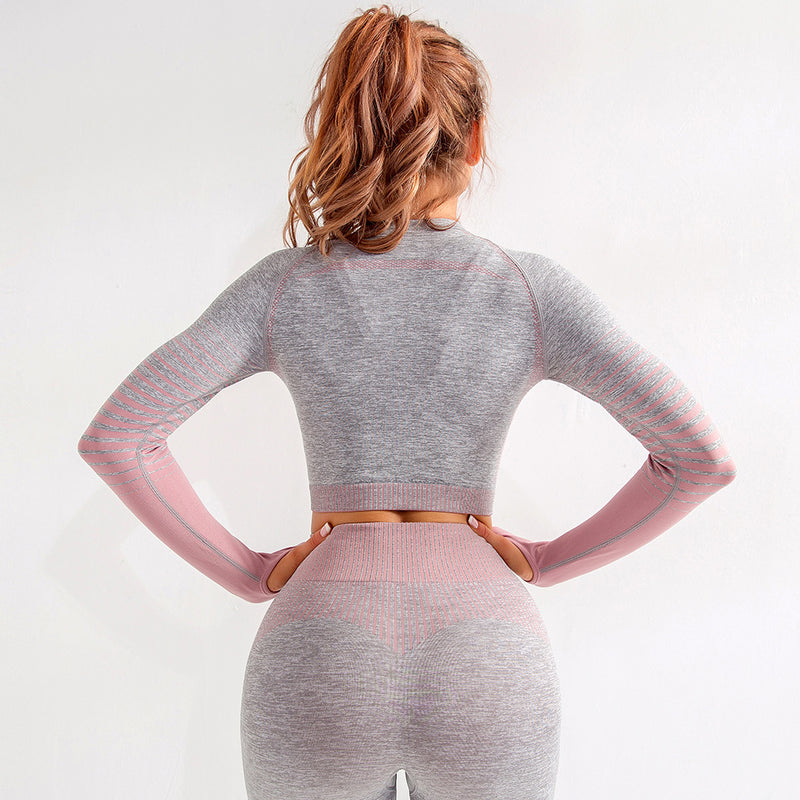 Striped Long-Sleeved Thumb Hole Crop Top - Leggings