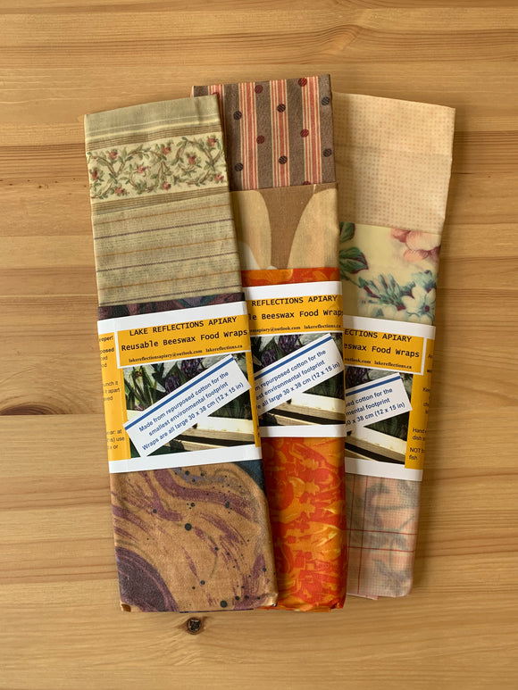 Lake Reflections Apiary Beeswax Food Wrap 3 Pack