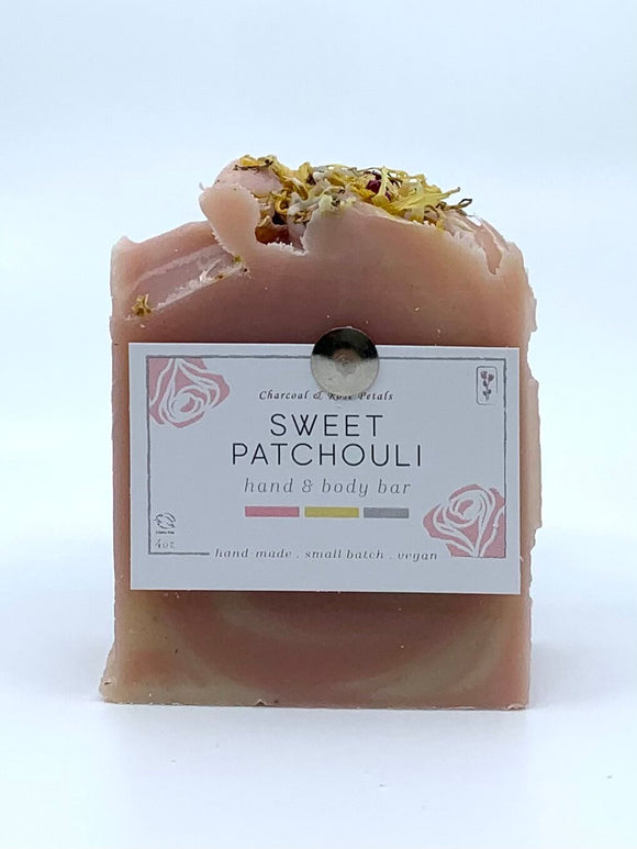 Charcoal & Rose Petals - Sweet Patchouli Bar Soap 4oz