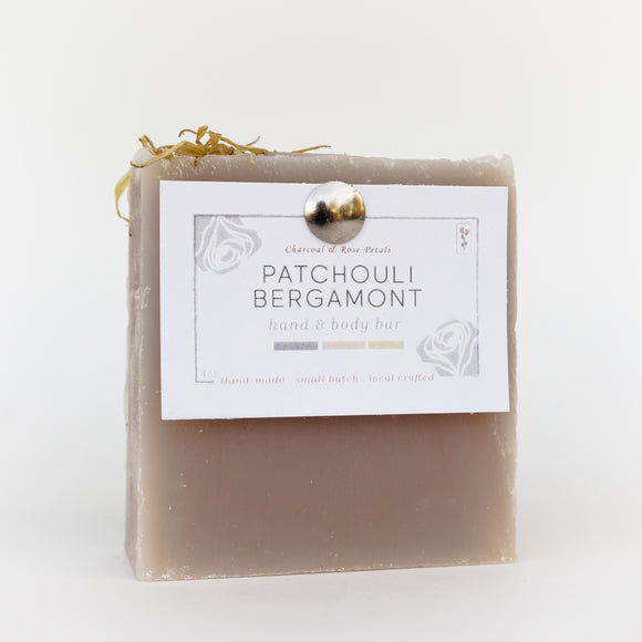 Charcoal & Rose Petals - Patchouli Bergamot Bar Soap 4oz