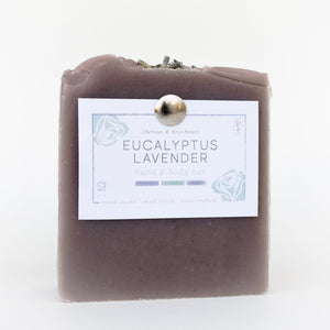 Charcoal & Rose Petals Eucalyptus Lavender Bar Soap 4oz