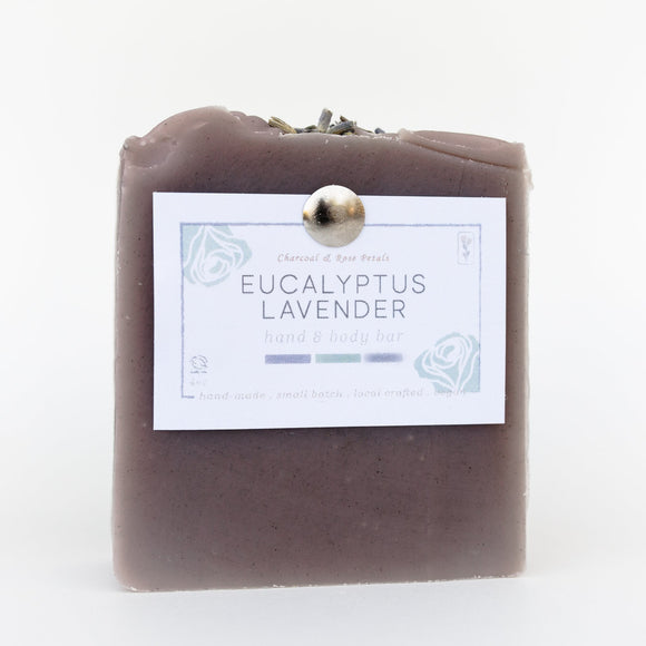 Charcoal & Rose Petals - Eucalyptus Lavender Bar Soap 4oz
