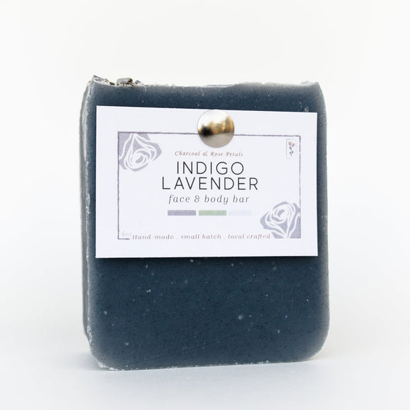 Charcoal & Rose Petals - Indigo Lavender Bar Soap 4oz