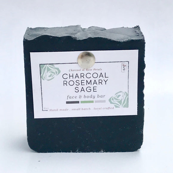 Charcoal & Rose Petals - Charcoal Rosemary Sage Bar Soap 4oz