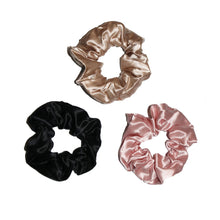 Load image into Gallery viewer, Luxury Silk Scrunchie Bundle - Champagne, Blush and Black