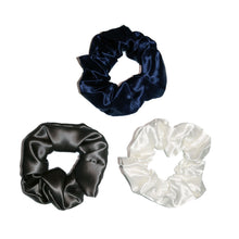 Load image into Gallery viewer, Luxury Silk Scrunchie Bundle - Navy, Charcoal and Ivory