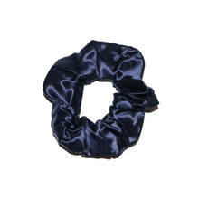 Load image into Gallery viewer, French-navy-blue-silk-scrunchie-white-background