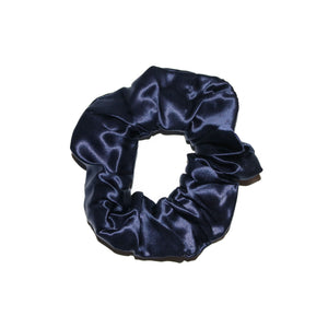 French-navy-blue-silk-scrunchie-white-background