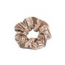 Load image into Gallery viewer, champagne-beige-silk-scrunchie-white-background