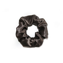 Load image into Gallery viewer, charcoal-grey-silk-scrunchie-white-background