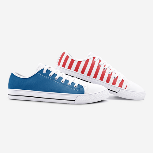 FAIS - Unisex Low Top Canvas Shoes - Blue & Red