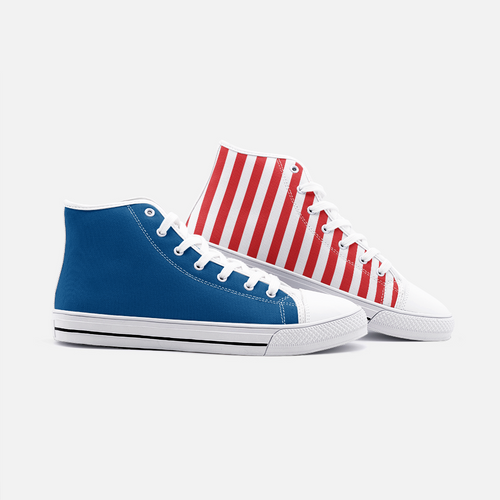 FAIS - Unisex High Top Canvas Shoes - Blue & Red