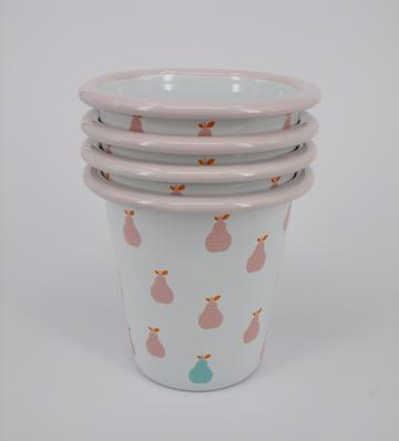 Enamel tumblers - set of 6 pink pear
