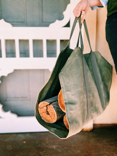 Waxed canvas log bag