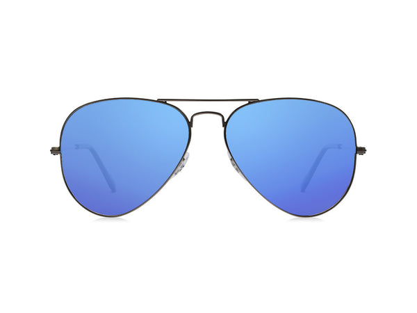 Chromex Aviator Black + Blue Mirror Sunglasses - PhotoChromeX
