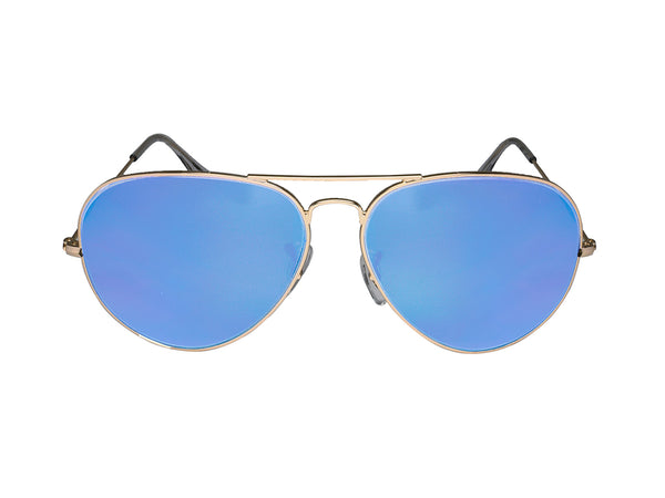 Chromex Gold Aviator + Blue Mirror Sunglasses - PhotoChromeX