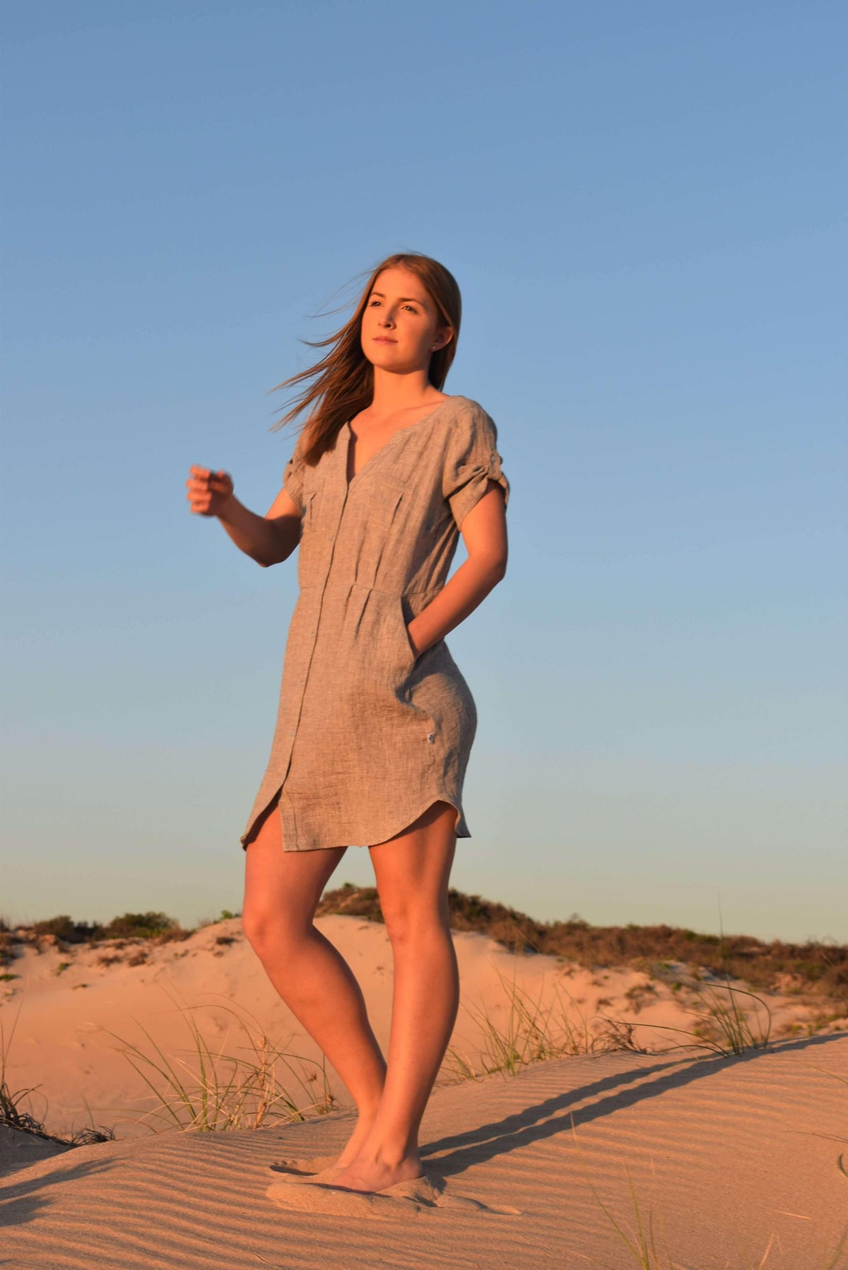 Introducing the new Chloe and Belle Dress in Silver Fawn - Love Linen