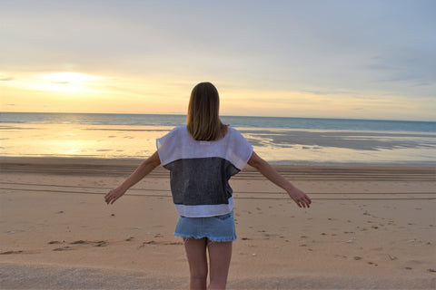 Woman wearing Love Linen on Cable Beach in Broome W.A