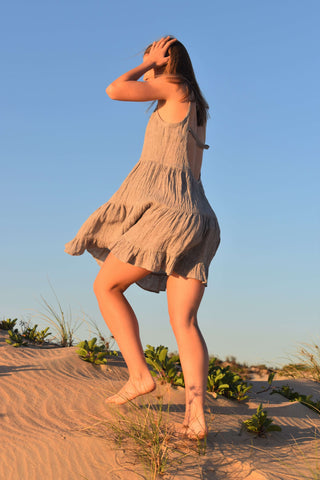 Linen Dress in Broome on the beach by Love Linen