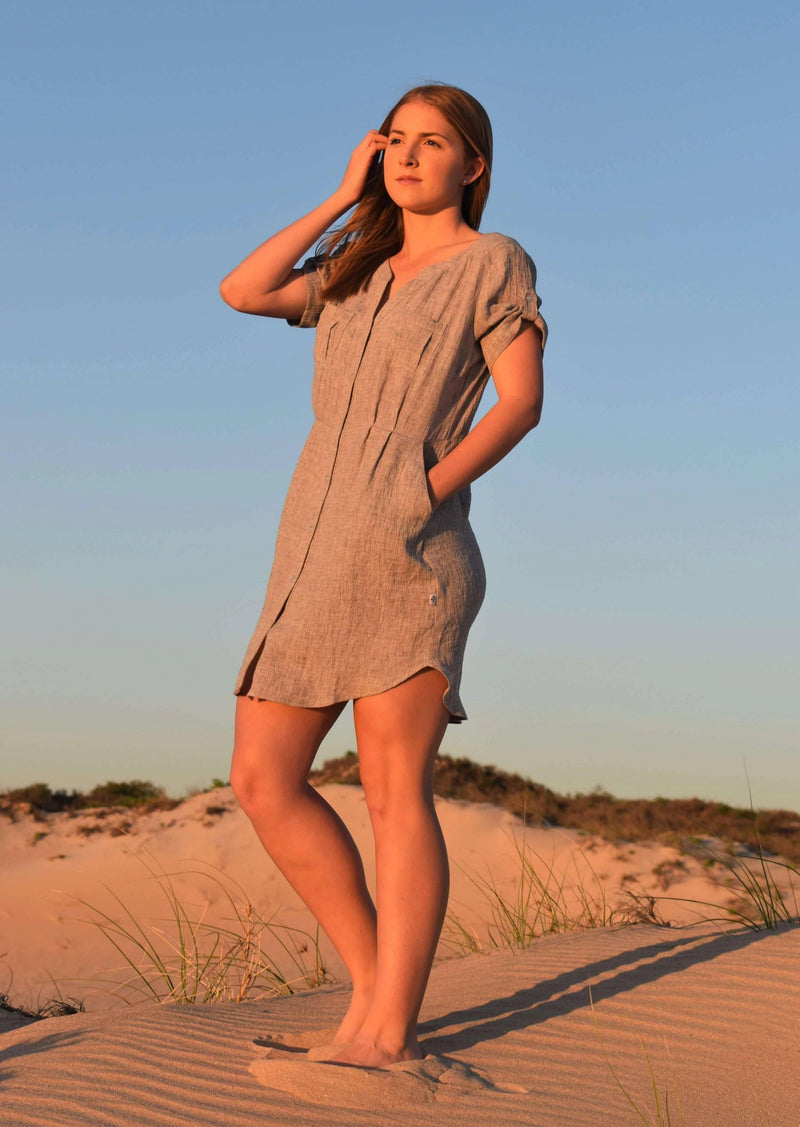 The Chloe Dress - Silver Fawn Crinkle Linen