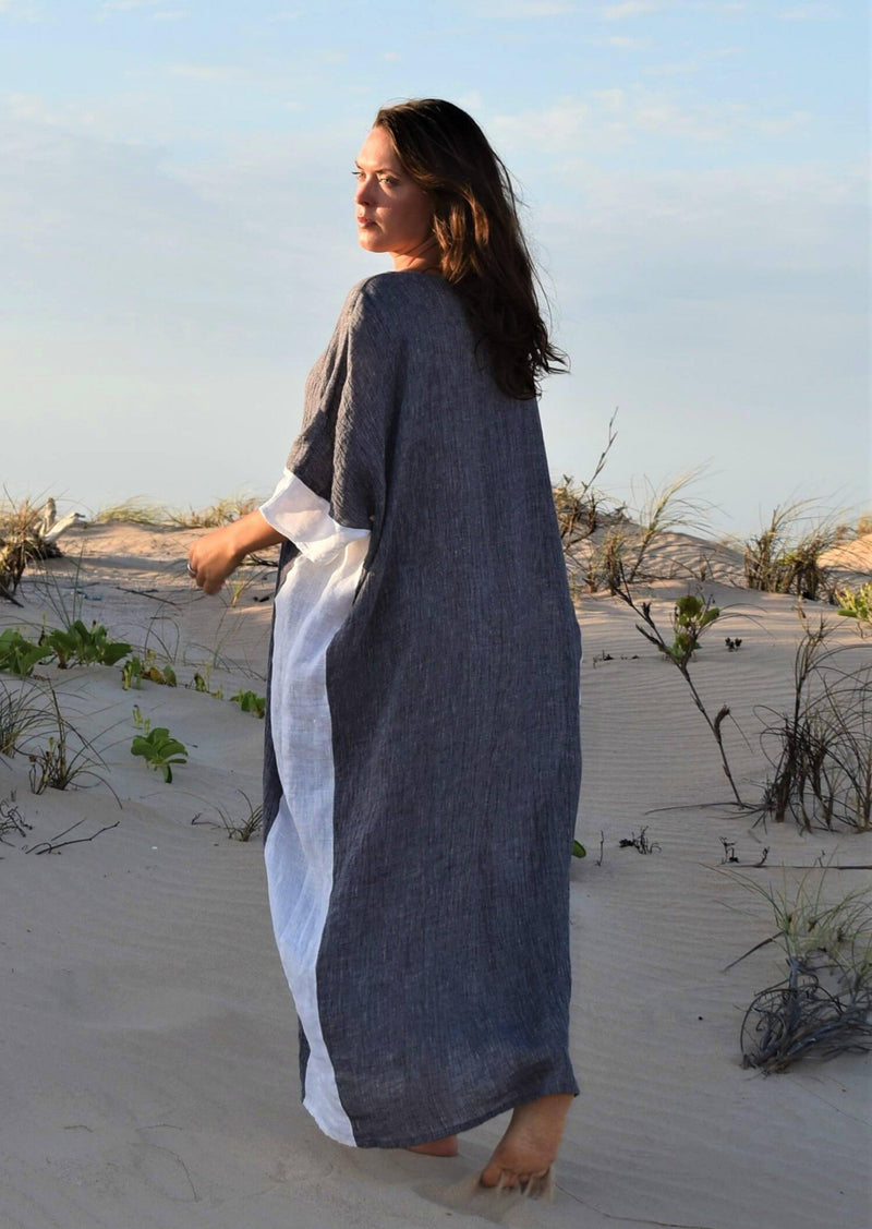 The Eve Kaftan Dress - Grey Crinkle Linen