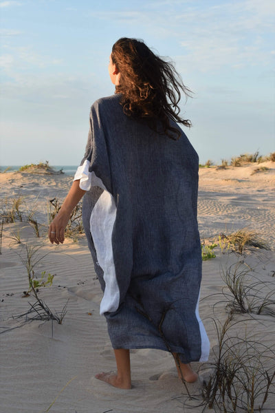 The Eve Kaftan Dress - Grey Crinkle Linen - Love Linen