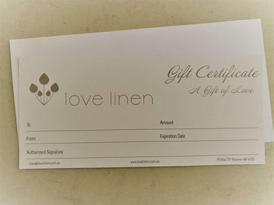 Gift Certificate Love Linen - A Gift Of Love
