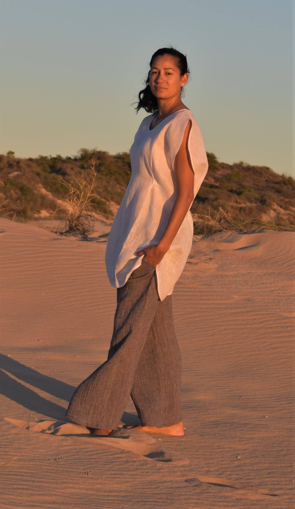 The Grace Kaftan White & Lexus Grey Pant Linen Set
