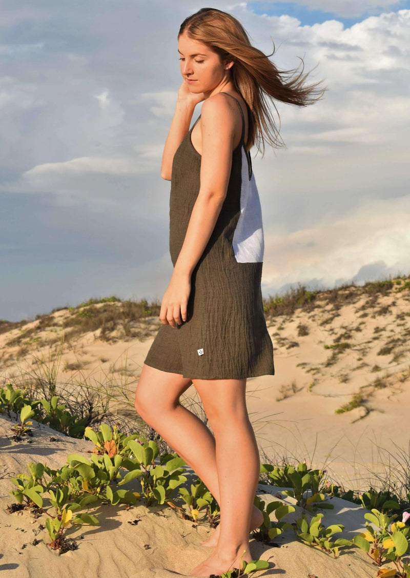 The Laura Short Slip Dress - Olive Green Crinkle Linen