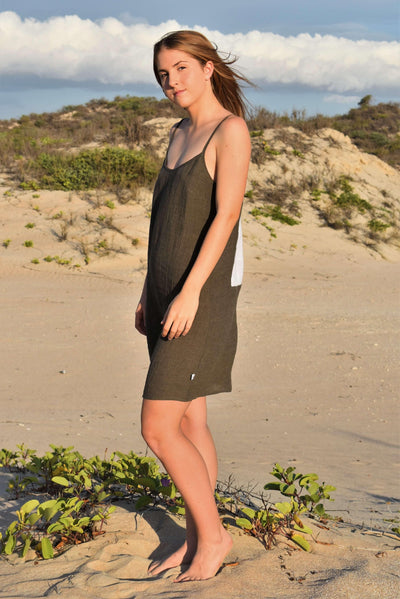 The Laura Short Slip Dress - Olive Green Crinkle Linen - Love Linen
