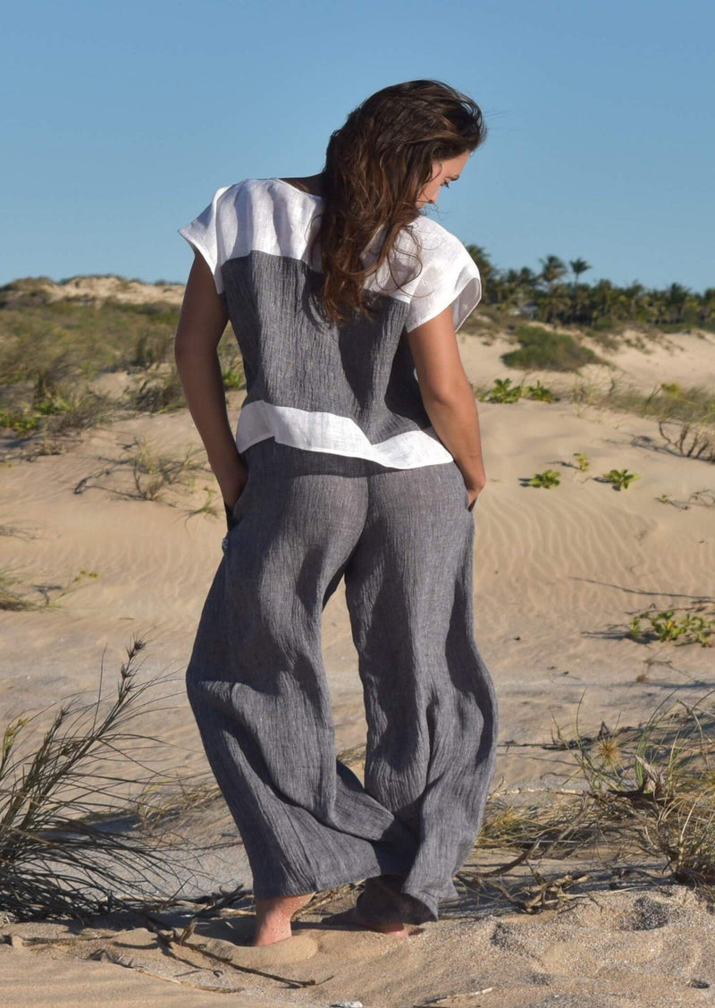 The Lexus Pants - Grey Crinkle Linen - Love Linen