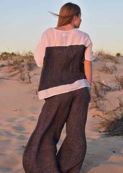The Rachael Kaftan Top & Lexus Pant Set - Indigo Crinkle Linen - Love Linen