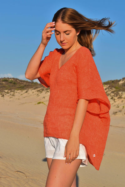 The Sophie Kaftan Top - Burnt Orange Crinkle Linen - Love Linen