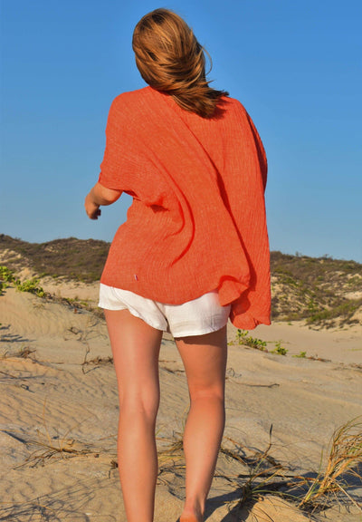 The Sophie Kaftan Top - Burnt Orange Crinkle Linen