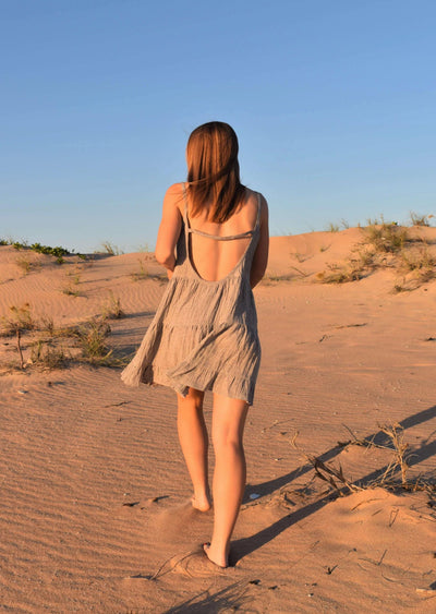 The Belle Dress - Silver Fawn Crinkle Linen - Love Linen