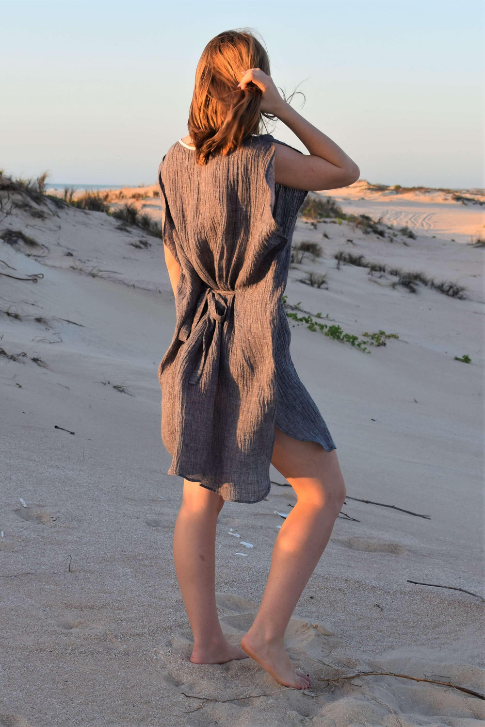 The Grace Kaftan - Grey Crinkle Linen