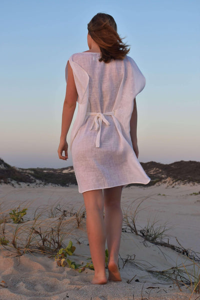 The Grace Kaftan - White Sheer Linen - Love Linen