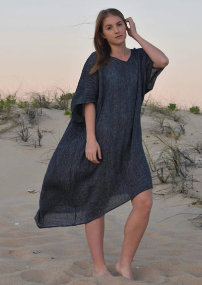 The Mia Kaftan Dress - Indigo Crinkle Linen - Love Linen