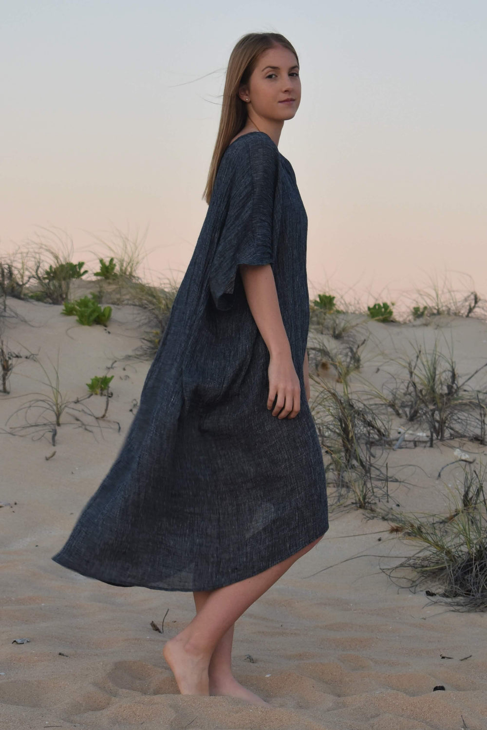 The Mia Kaftan Dress - Indigo Crinkle Linen