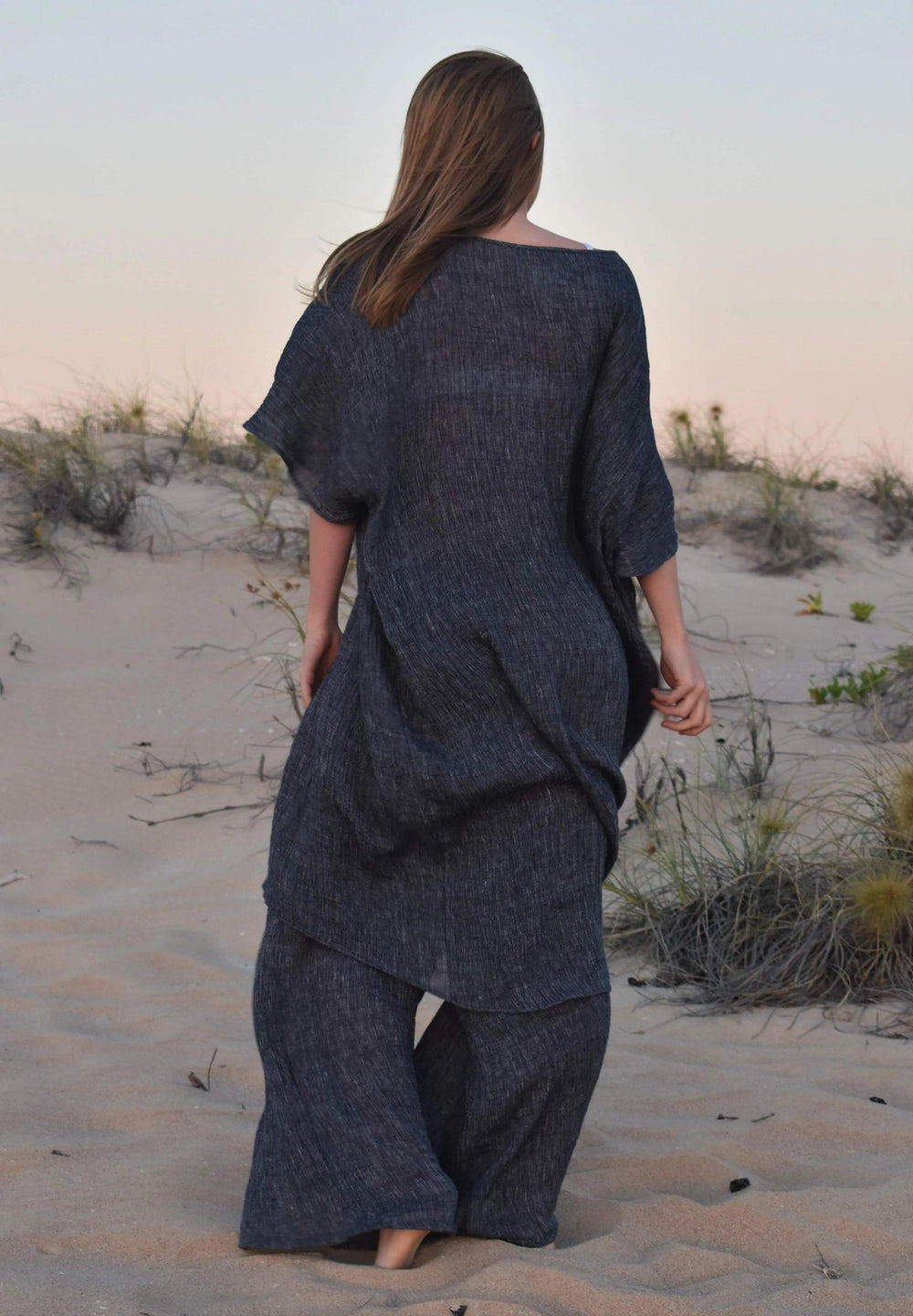The Mia Kaftan Dress & Lexus Pant Set - Indigo Crinkle Linen