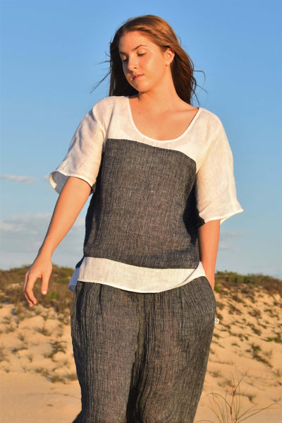 The Rachael Kaftan Top - Indigo Crinkle Linen