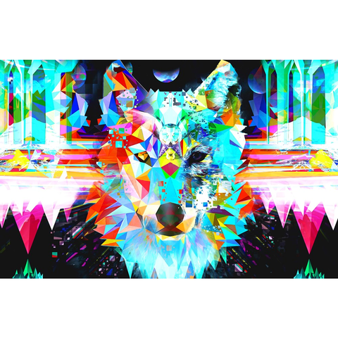 """Pixeled Wolf"" Print by DSQISE"
