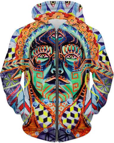 """Native Tongue"" Zip Hoodie by John Gay"